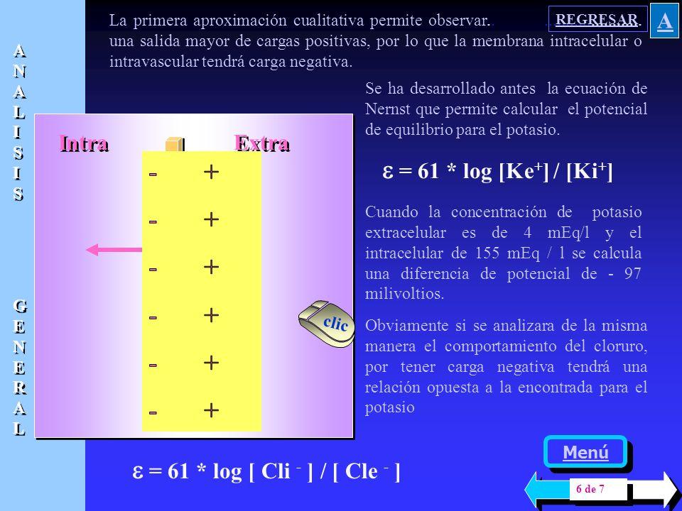 e = 61 * log [Ke+] / [Ki+] - + e = 61 * log [ Cli - ] / [ Cle - ] A